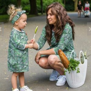 Family Matching Dress Green Color Mother Daughter Dresses