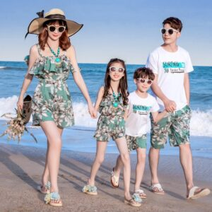 Women Girls Bathing Suit Daddy and Son Shirts Clothing Sets