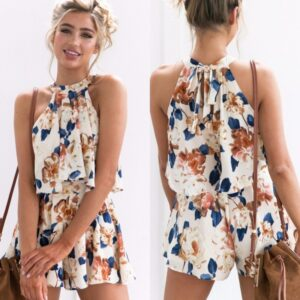 Women Vintage Print Elegant Suits Summer Beach Loose Casual Outfits