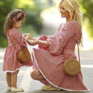 Spring Autumn Long-sleeved Mother Daughter Dresses