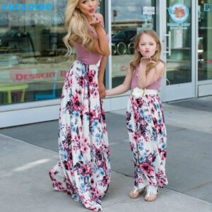 Summer Family Matching Outfits Mother and Daughter Dresses