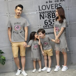 Family Matching Pyjamas Couple Look Mother and Daughter Dresses