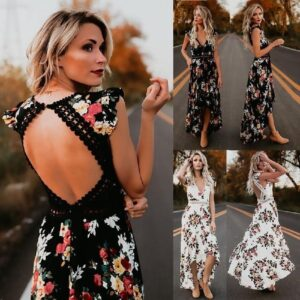 Boho Backless Floral Printed Hollow Out Women Summer Dress