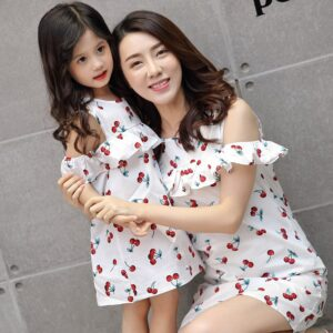 Adult Baby Pajamas Sister Mum Kids Off Shoulder Dress Mommy and Me Clothes