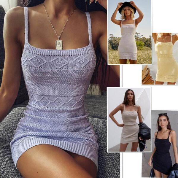 Spring and Summer Explosion Models Knitted Stretch Sexy Strap Dress