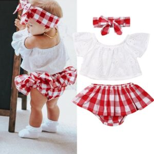 0-24M 3pcs Baby Girls Clothes Set Solid White Off Shoulder Shirt Tops Red Plaid Skirts Girls Hairband Kids Set Baby Girl Outfits