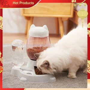 2.2L Pet Dog Cat Automatic Feeder Bowl for Dogs Drinking Water 528ml Bottle Kitten Bowls Slow Food Feeding Container Supplies