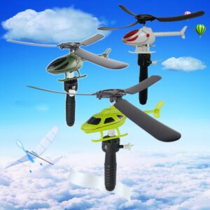 2/5/10pcs Kids Educational Toys Pull Wires RC Helicopters Fly Freedom Drawstring Mini Plane Childrens Gifts /Outdoor Games