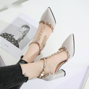 2020 Summer Shoes High Heels T Strap Rivet Pumps chunky Heels Sandal Patent Leather Dress Shoes White wedding shoes Ladies 7579