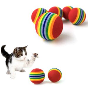5 PCS Rainbow Ball Cat Toy Colorful Ball Interactive Pet Products Kitten Play Chewing Rattle Scratch Ball Training Pet Supplies