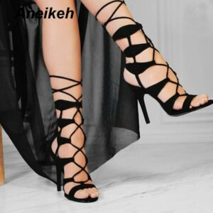 Aneikeh NEW Fashion Basic Boots Women High Heels Pumps Flock Sexy Hollow Out Mesh Lace-Up Cross-Tied Summer Sandals Shoes 35-40