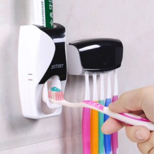 Automatic Toothpaste Dispenser Wall Mount Dust-proof Toothbrush Holder Wall Mount Storage Rack Bathroom Accessories Set Squeezer