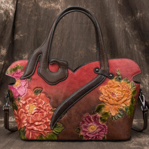 FASHION 2021 European and American Style Women Floral Genuine Leather Bags Women Cowhide Tote Bag Ladies Shopping Shoulder Bags