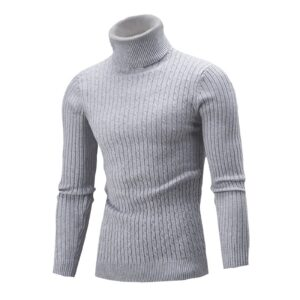 Casual Men Autumn Winter Solid Color Turtle Neck Long Sleeve Knitted Casual Sweater Mens Slim Fit Brand Knitted Pullovers