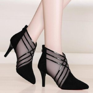 WOMEN'S Fashion 2021 Mesh Cross Striped Lace Ladies Casual Pointed High Heels Pumps Women Sandals Shoes