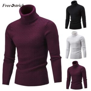 Free Ostrich Winter Men Sweater Slim Warm Knit High Neck Pullover Jumper Sweater Turtleneck Top pull homme Winter clothes 11