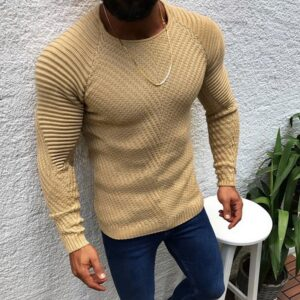 Men Fashion Knitted Pullover Male Solid Color O-neck Striped Long Sleeve Sweater Spring Winter Slim Fit Casual Sweater