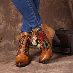 JTS Genuine Boots Women  Leather Embossed Embroidery Stitching Lace Up High Heel Boots Shoes Women Elegant Shoes 2021
