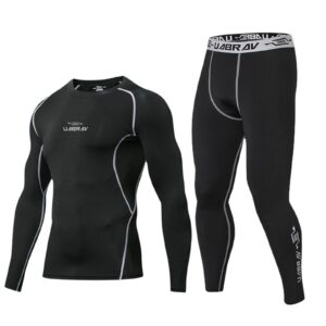 Men's Casual Suits Long Sleeve Sportswear Compression Shirts Pants Gym Clothing Simple Male Tracksuit