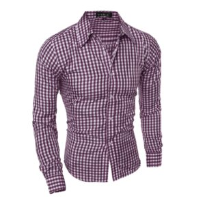 Mens Plaid Shirts Long-sleeved Self-cultivation Shirt Work Suit Shirt Top Lapel High Quality Professional Man Clothes