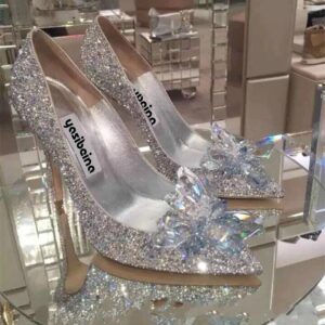 New Cinderella Crystal Shoes Heels Women Pointed Sexy bride shoes Womens High Heels Female Silver Rhinestone Wedding Shoes