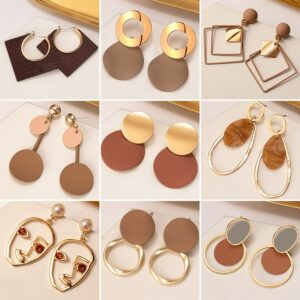 New Korean Statement Earrings for Women Brown Arcylic Geometric Dangle Drop Gold Earing Brincos 2020 Trend Fashion Jewelry Gifts