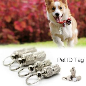 Pet Dog Cat ID Tags Pet Supply Silver Aluminum Alloy  Collar Attached Address Label Empty Tube