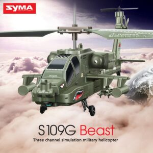 SYMA S109G 3.5CH Beast Alloy Gunship RC Helicopter Childrens Fall Resistance Stable Military Model RTF Drone Toy Gift
