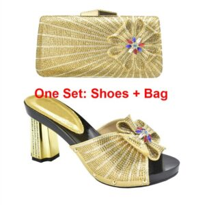 Latest 2021 Shoes and Bag for Party Wedding  Wedding Shoes for Women Bride Plus Size Women Shoes 42 43 Italian Women Shoes with Bag
