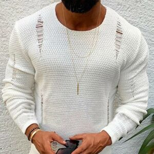 Fashion Men Ripped Sweater Cotton Soft Male Winter Warm Knit Clothes Casual Cool Pullover O-Neck Long Sleeve Men Ripped Sweater