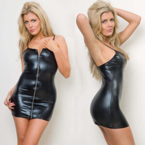 Skirt 2021 Brand New Sexy Women Wet-Look PVC Faux Leather Zippers  Sleeveless Solid Body con  Club wear Mini Skirt