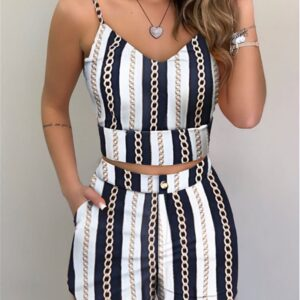 Summer 2021 Women Fashion 2-piece Outfit Set Sleeveless Print Top and Shorts Set for Ladies Women Party wear