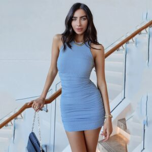 Women Solid Sleevess Dress Summer Casual Fashion Ruched One Piece Dress Stylish Stretchy Dress Sexy Bodycon Party Clothes