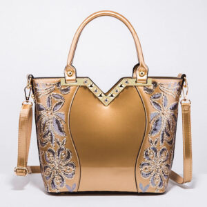 New 2021 fashion embroidery bright leather female handbag Tote bag High-end boutique women's shoulder bag cross body bag