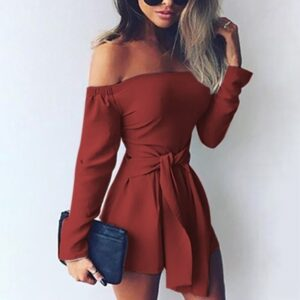 Fashion Jumpsuit Womens Playsuit Summer Fashion Sexy Solid Bandage Off Shoulder Long Sleeve Easy Short Jumpsuit