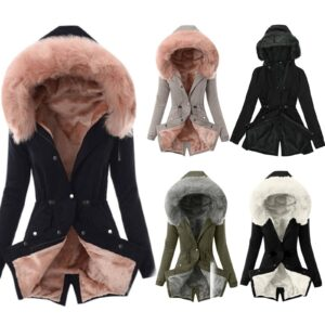 Ladies Fur Lining Coat Womens Winter Warm Thick Long Jacket Hooded Overcoat For Women Hooded Overcoat Dropshipping