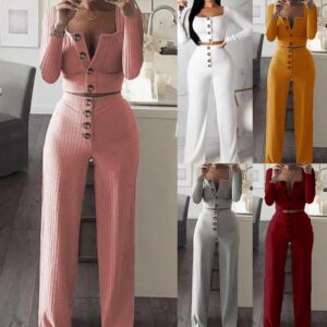Womens Sets Spring Fashion Crop Top Long Button Pants Casual Business Style Solid Streetwears Suits Mujer New