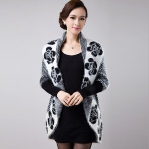 Back Long Knitted Printed Shawl Open Stitch Sweater 2021 Fashion Women Soft Faux Fur Turn Down Collar Thick Cardigans
