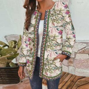 Vintage Women Floral Printed Jackets Autumn Long Sleeve Thin Coat Casual Bohemian Cotton Cardigan Open Stitch Outwear